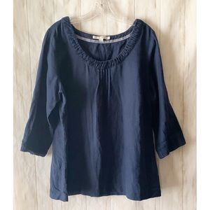 Boden 100% Linen Solid Navy Blue Tunic Top Size 16